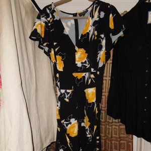 22W Lane Bryant BLACK FLORAL LENA V-NECK DRESS POC